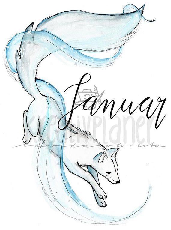 Bullet Journal Sticker , Bujo, Monatslayout , Fuchs, Fox, Januar