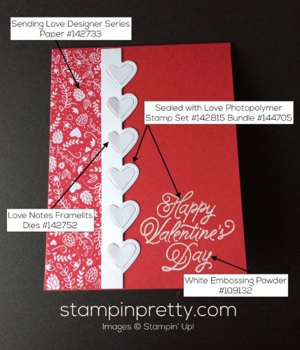Sealed with Love Stamp Set & Love Notes Framelits Dies valentine card.  Mary Fish, Stampin' Up! Demonstrator.  1000+ StampinUp & SUO card ideas.  Read more http://stampinpretty.com/2017/01/sealed-with-love-valentine-card-2.html