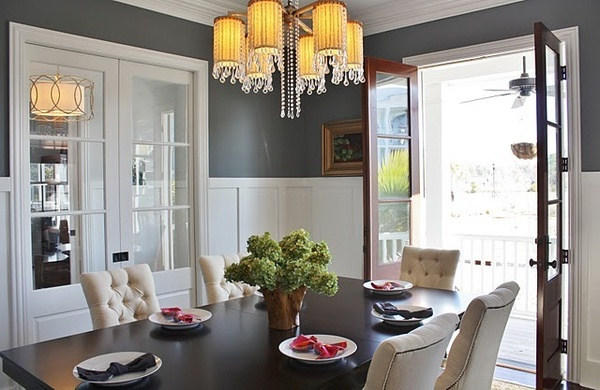 dining rooms: Wall Colors, Home Tours, Made By Girls, Chairs, French Doors, Paintings Colors, Dining Rooms Colors, Grey Wall, Gray Wall