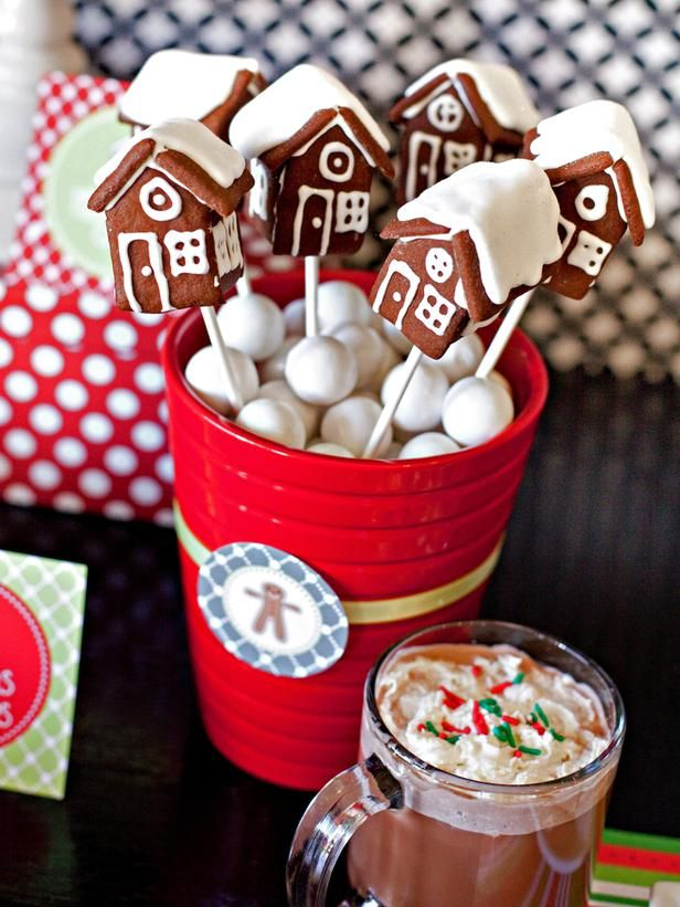 Gingerbread House Pops In a Bucket of Gumballs.  Stand Each Pop Inside and Decorate With Printable Party Circle.