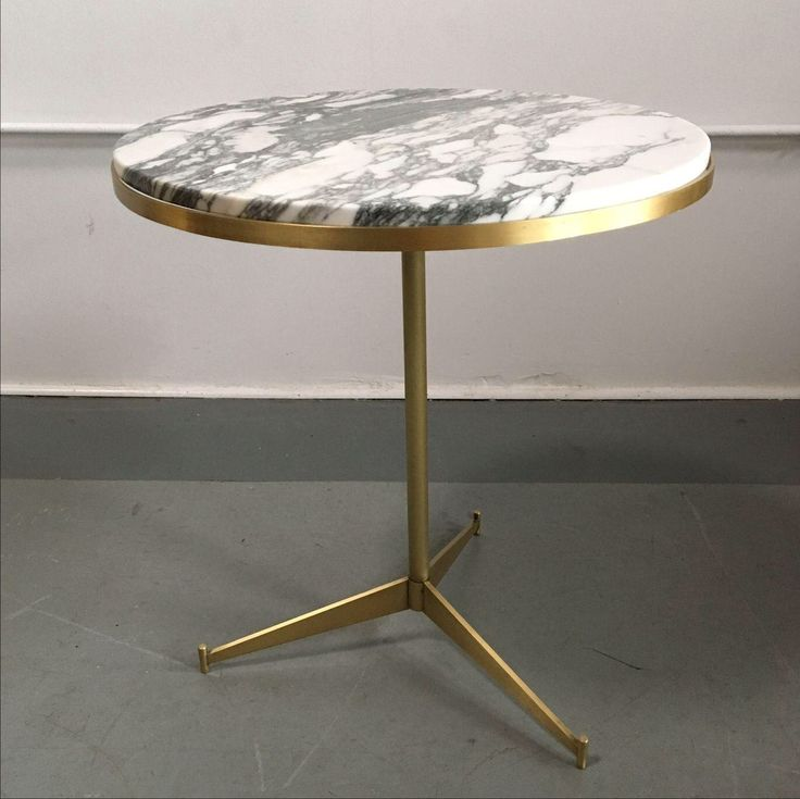 White Marble and Gold Side Table by Paul McCobb on Chairish.com