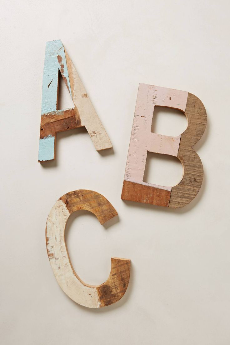 Reclaimed Wood Block Letters - anthropologie.com  Initials on the wall