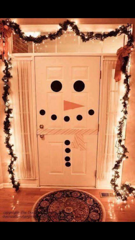 Make your front door festive with a cute snowman door!!