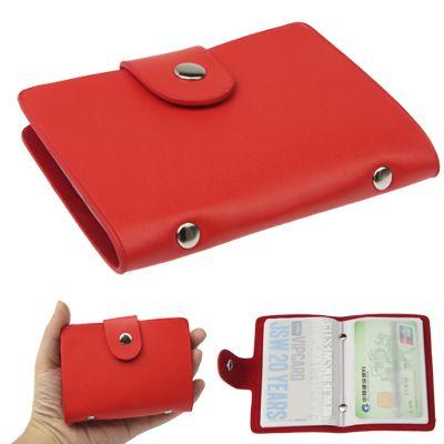 [$1.22] 24 Cards Bank Card Bag Leather Bank Credit Card  Holder (Red)