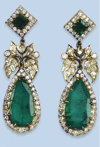 A PAIR OF EMERALD AND DIAMOND EARRINGS  Each large pear-shaped emerald and diamond-set drop with diamond-set foliate connection to a square-cut emerald and diamond surmount