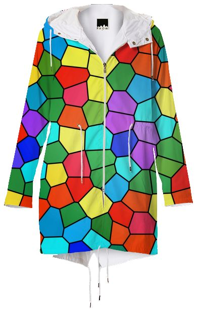 Stained Glass Rainbow 2183 Colorful mosaic rainbow design using bright reds, gorgeous greens, sunny yellows and rich purples beautifully displayed on this gorgeous raincoat.