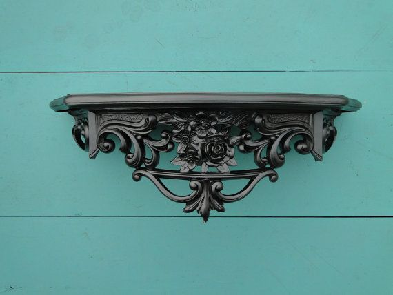 "Wall Shelf ornate baroque Hollywood regency Paris apartment French Gothic vintage large metallic silver ""Cold"""