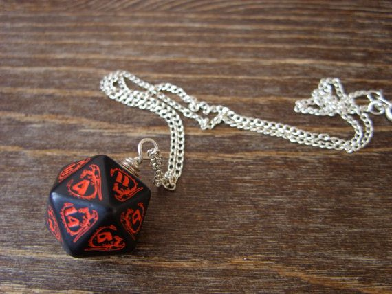dragon necklace dungeons and dragons pendant D20 by MageStudio