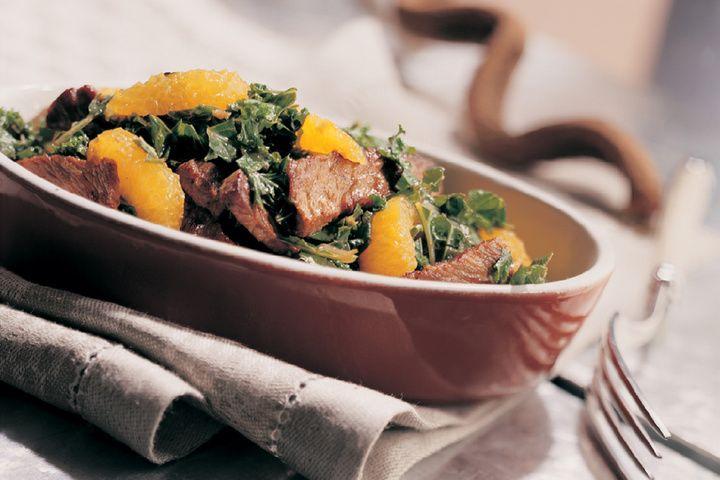 Boerenkool met rundvlees en sinaasappel