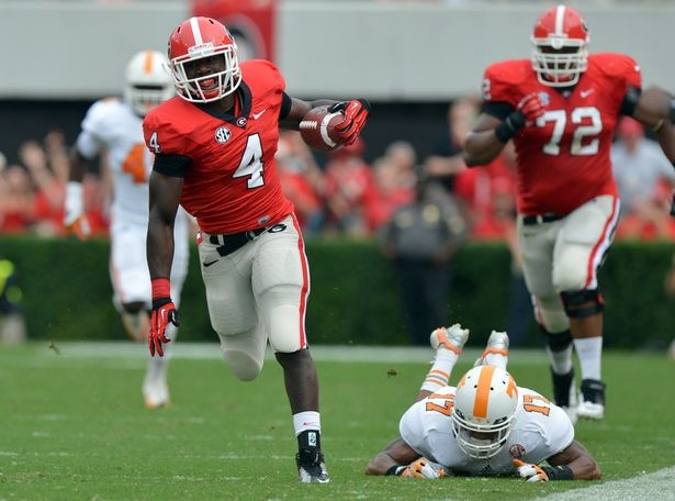Marshall's 75 yd TD run.  UGA v. UT  (photo by Brant Sanderlin at ajc.com)