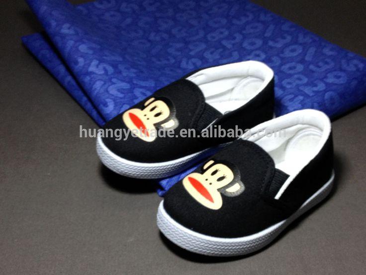 Black Mokey Pattern Slip On Sports Shoes For Kids From Quanzhou