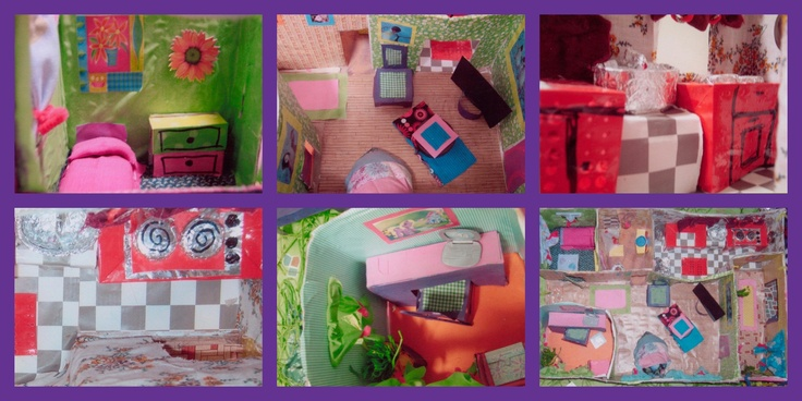Homemade Dollhouse made with bits n pieces found around the house