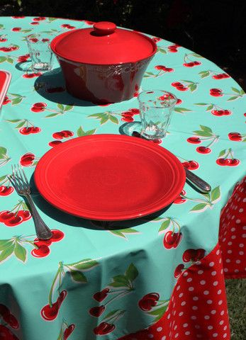 This Retro Turquoise Cherry Oilcloth Tablecloth Is One Of Our Best Sellers.  Popular With Those Into Glamping, Retro Kitchens And Vintage A