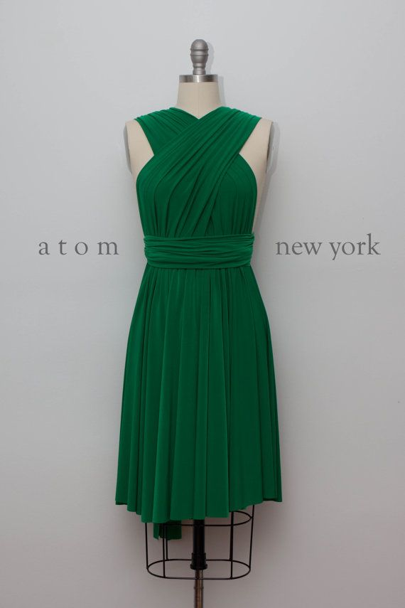 Emerald Green Infinity Dress Convertible Formal Multiway Wrap Dress Bridesmaid Dress Party Dress Cocktail Dress Evening Dress Short