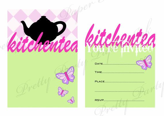 Kitchen tea invitation. Digital file for instant download www.etsy.com/shop/prettypartypaperink www.facebook/pretty.party.paper.ink
