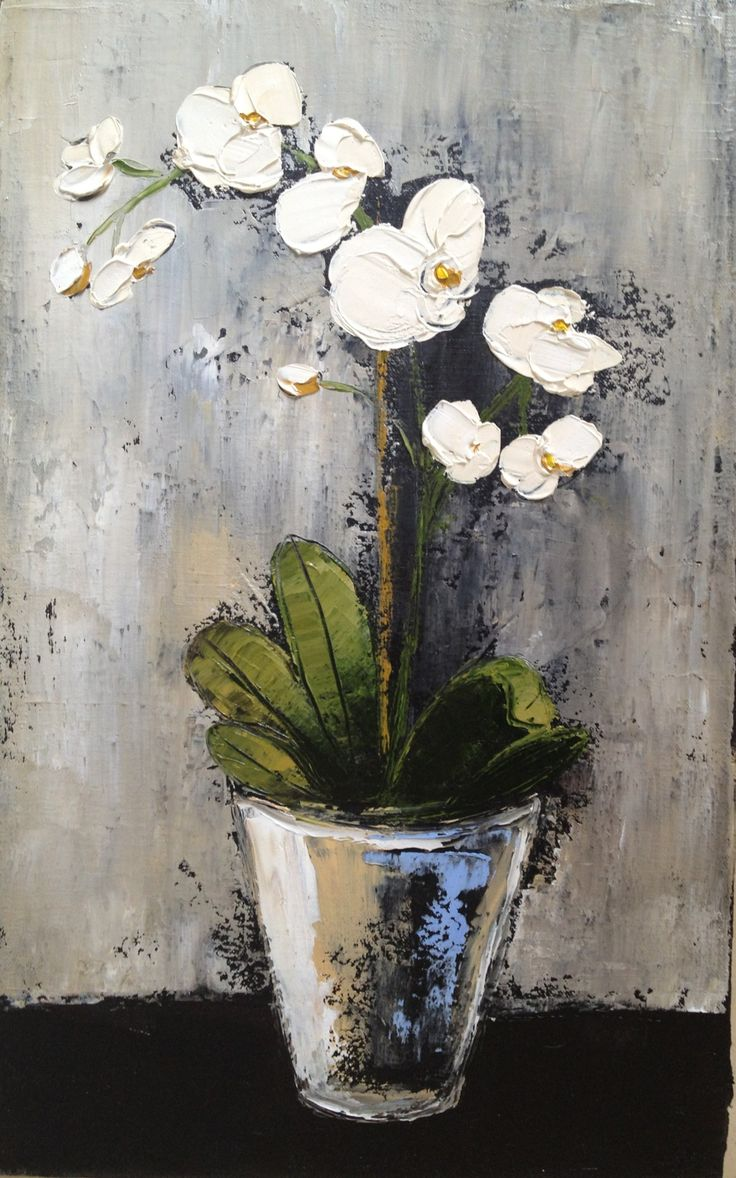 White Orchid 2 250mmx350mmx20mm Oil on canvas Available