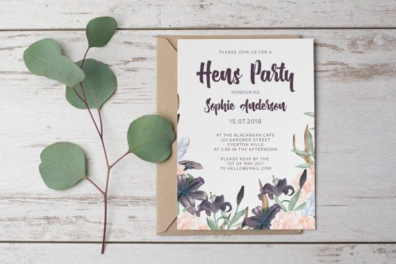 DIY Printable Boho Watercolour Flower Bridal Shower / Hens Party Invitation in Dark Purple, Pastel Pink and Green