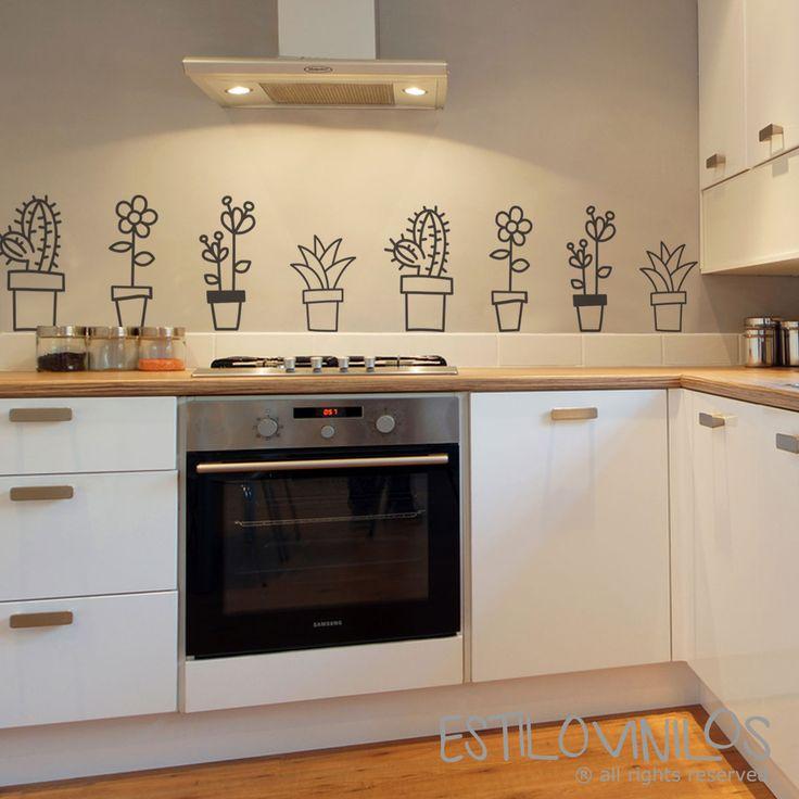 Simpáticas macetas para decorar tu cocina. Recortalas del paño y pegalas como más te convenga.