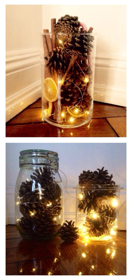 Pine cones and fairy lights in a mason jar – …