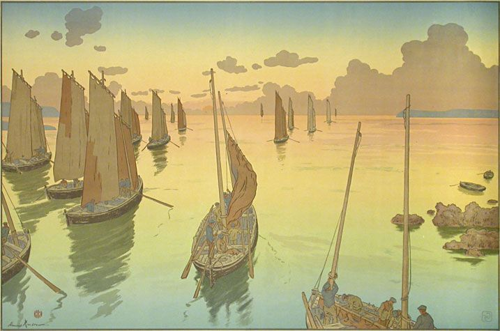 While in Paris, in 2007, I fell in love with a book of work by French  artist Henri Riviere (1864-1951). What I loved so much about his pictures,  was the way that Riviere combined the pastoral scenery of French  Impressionism with the simplistic style of Japanese printmaking. Included  in the b