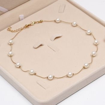 2017 Simulated Pearl Necklace Top Quality Anti-Allergy Wholesale Gold Color Statement Necklace Chain Wholesale Pearl Jewelry  Price: 1.17 USD