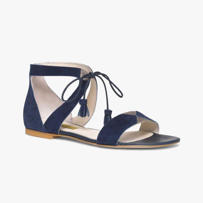Sandale plate marine et glitter