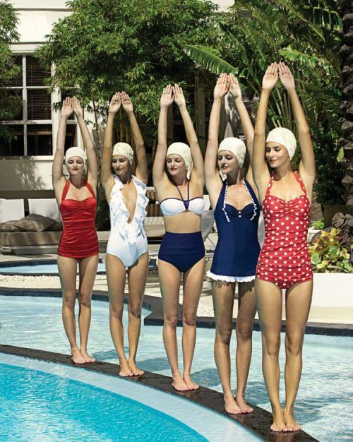 Cool pic, but if they really wanted to go for a retro look, their models would be 50 pounds heavier.: Vintage Swimsuits, Bathing Suits, Polka Dots, Swimwear, Vintage Bath Suits, Summer, Bath Beautiful, Retro Style, Swim Suits
