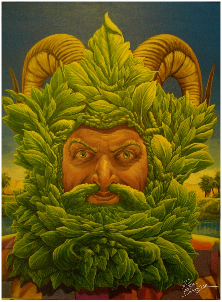 """Green Man (Khidr) by Rich Buckler    D. F. Coleman, independent curator and art historian (on the art of Rich Buckler): """"...drives home the sense of the sublime anguish and delight felt in the presence of some  uncomprehending force greater than the sum total of human experience...  hauntingly authentic art that transcends time and the power of words."""""""