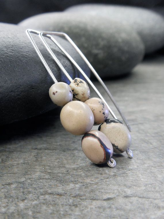 Zen Stone Earrings Tiny River Pebbles Nature by Rootiebirds