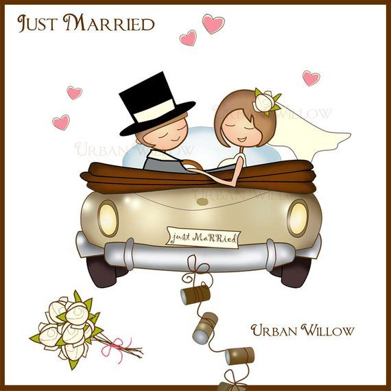 Just Married Clip Art Digital Papers Image Set Etsy In 2020