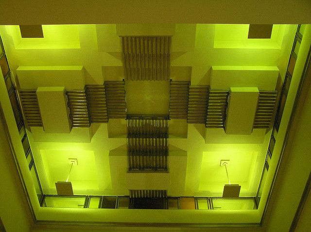 Recessed lighting in the Capitol Arcade. Designed by Walter Burley Griffin. Swanston Street, Melbourne.