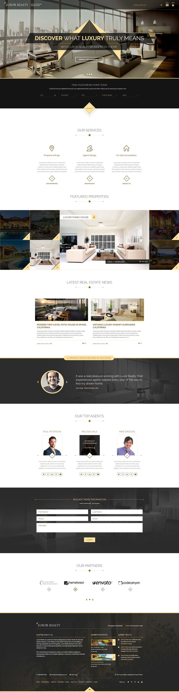 LUXOR is a premium real estate WordPress theme designed for the Real Estate market. It is the perfect theme for selling #homes and #properties such as condos, #apartments, homes and commercial units. #wptheme #website