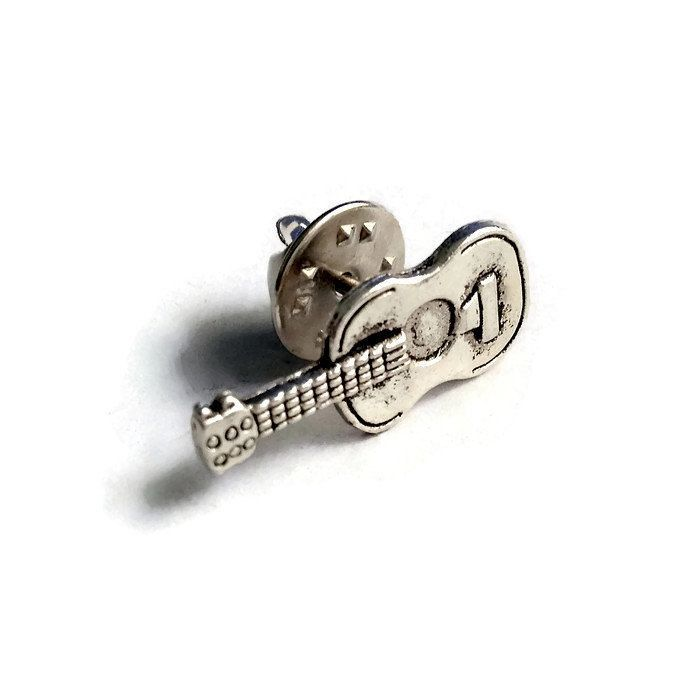 New Silver Metal Guitar Musical Instrument / Strings Band Mens Tie Tack Clasp or Ladies / Unisex Pin, Handcrafted Music Accessory  Guys Gift by Lynx2Cuffs on Etsy