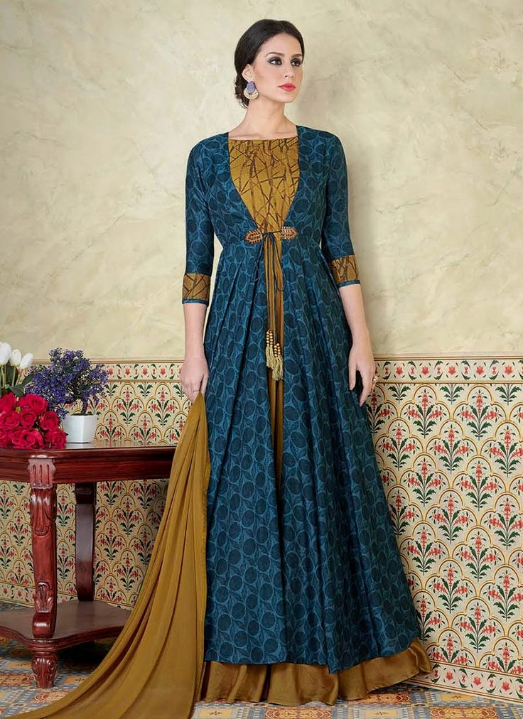 Get here the latest and exclusive collection of  salwar kameez. Buy online absorbing blue and mustard floor length anarkali suit for festival and party.