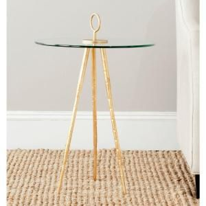 Delma Gold Glass Top End Table, Gold/Clear Glass Top