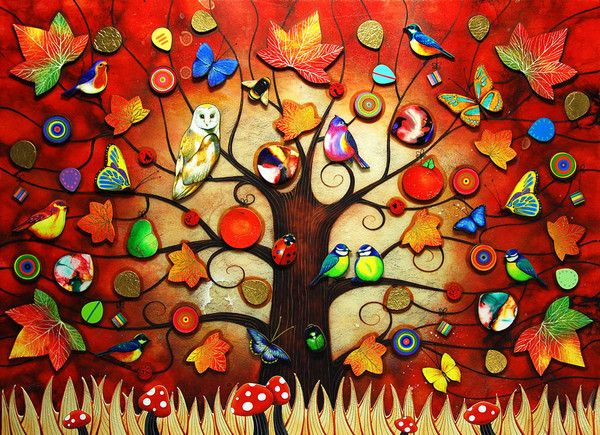 'Tree of Life - Autumn' by Kerry Darlington. A Unique edition print with resin & 3D elements.  Available at Wyecliffe Gallery: http://wyecliffe.com/collections/kerry-darlington-art/products/kerry-darlington-autumn
