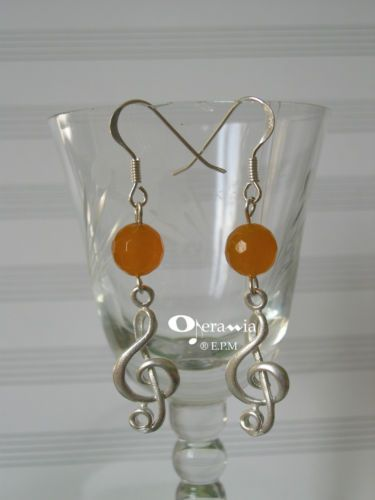 Orecchini argento 925 - chiave di violino grande e agata arancio