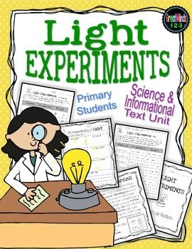 The unit includes printable student text, light experiments, follow-up activities and assessments created for K-3 students.   We created this unit with the new Common Core science standards in mind.  We use the Light Waves unit as an intro week before starting our Phases of the Moon  and Patterns in Naturehttps:// units.