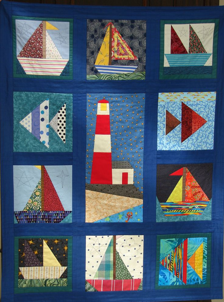 Ollie's Boats. Made for my first grandchild. 2013. First attempt at foundation piecing.