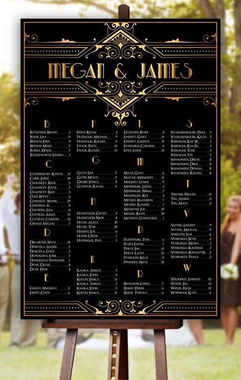 Wedding Seating Chart RUSH SERVICE Great Gatsby by HappyBlueCat