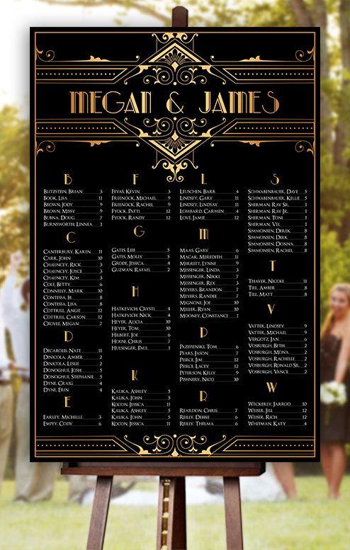 Wedding Seating Chart - RUSH SERVICE- Great Gatsby Gold ...