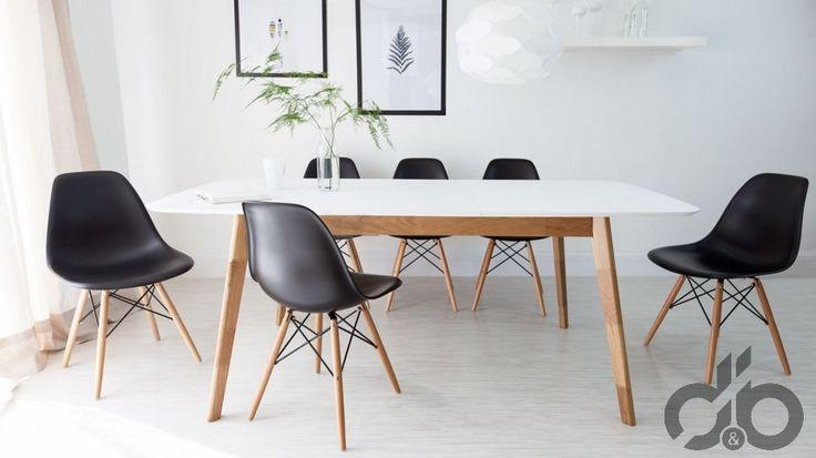 siyah eames sandalyeler ile yemek odası dekorasyonu