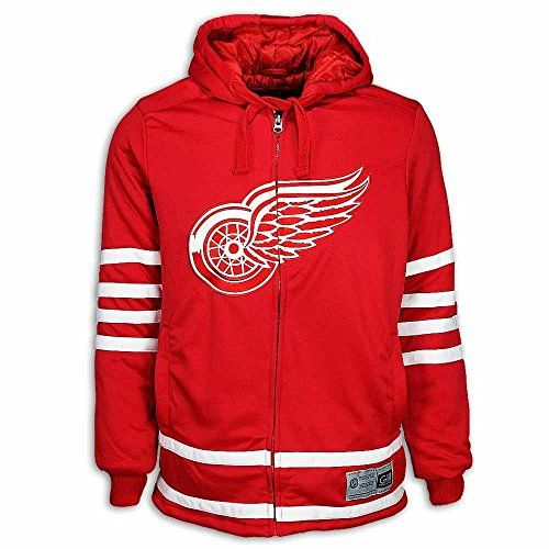 Detroit Red Wings NHL Red Cross Check Jersey Quilted Hoodie Jacket (X-Large)