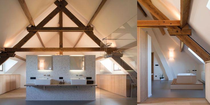 gietvloer in combinatie met houten vloer interieur #gietvloer #wood #badkamer #loft #interieur #balken