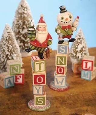 Christmas Toy Blocks S/2 folk art Santa Greg Guedel for Bethany Lowe