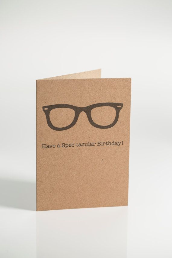 Spec-tacular Hipster Birthday Card by featherinthecap on Etsy