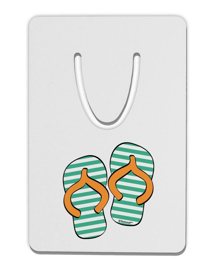 Striped Flip Flops - Teal and Orange Aluminum Paper Clip Bookmark