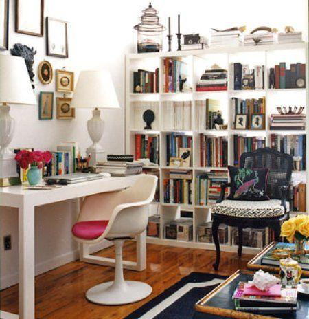 Tori Mellott's studio apt, Domino mag. White Ikea expedit bookshelf, white lacquer parsons desk.  Louis chair painted black.  NYC studio apartment. Work space.  Desk vignette.