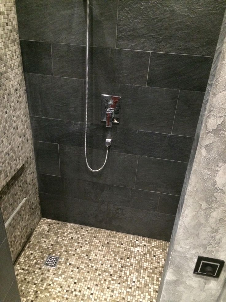 душевая комната bathroom, grey wall, design, natural material, schist, ideas