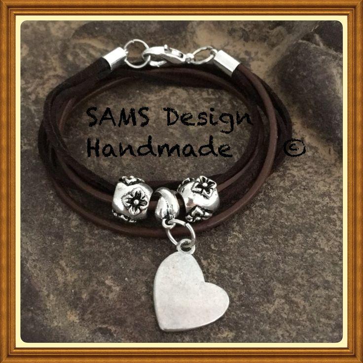 Läder/mocka armband  Leather mocha bracelet SAMS Design Handmade